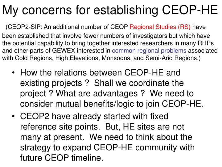My concerns for establishing CEOP-HE
