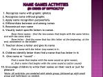 name games activities in order of difficulty