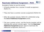 reactivate additional assignment pa401