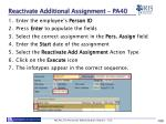 reactivate additional assignment pa402
