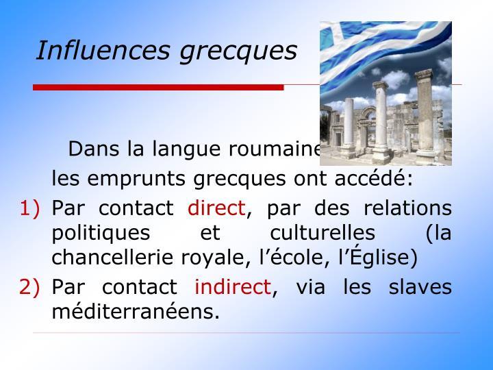 Influences grecques