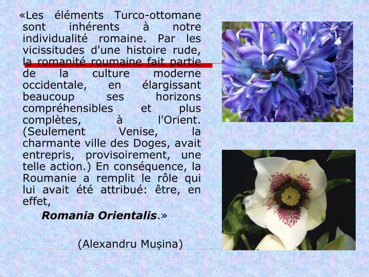 «Les éléments Turco-ottomane sont inhérents à notre individualité romaine. Par les vicissitudes d'une histoire rude, la romanité roumain