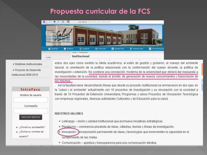 Propuesta curricular de la FCS