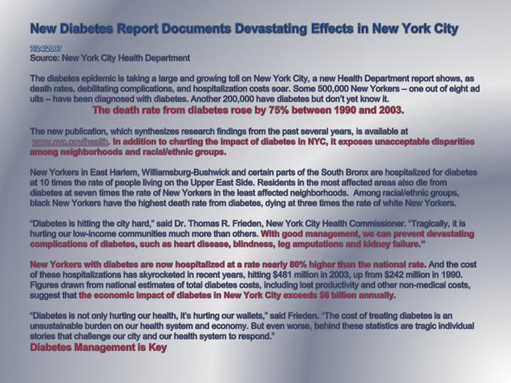 New Diabetes Report Documents Devastating Effects in New York City