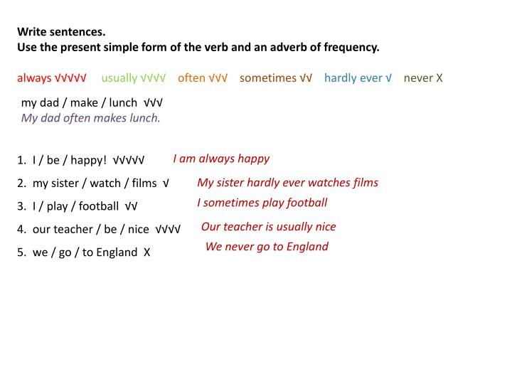 Write sentences.