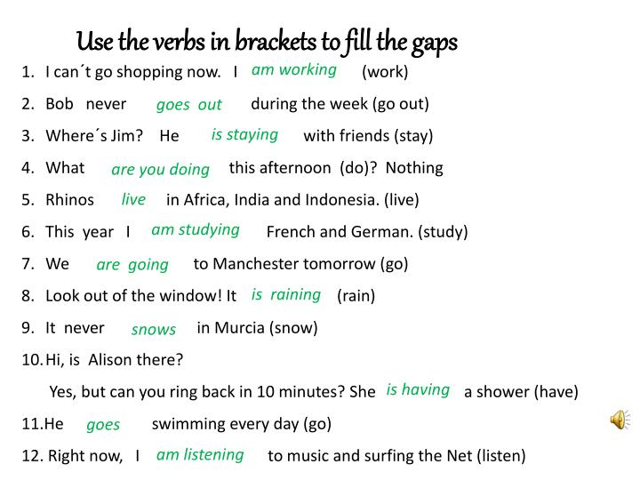 Use the verbs in brackets to fill the gaps
