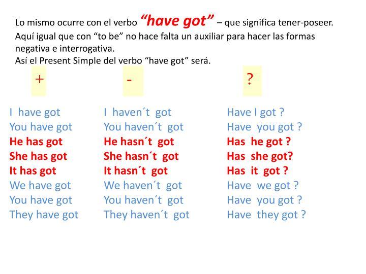 Lo mismo ocurre con el verbo