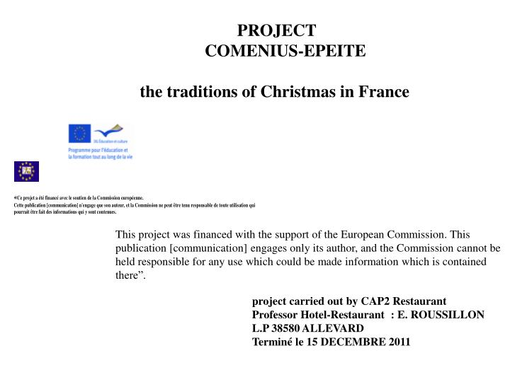 project comenius epeite the traditions of christmas in france