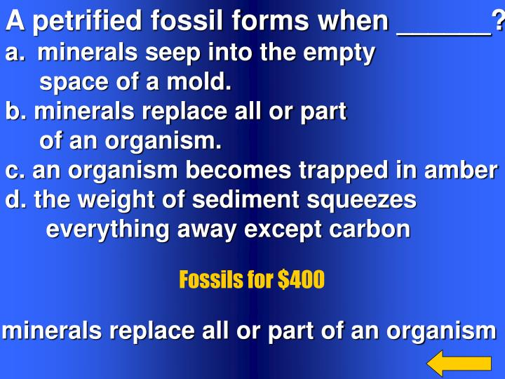 A petrified fossil forms when ______?