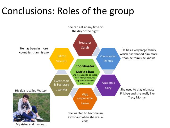 Conclusions: Roles of the group