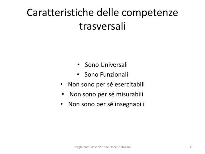 Caratteristiche delle competenze trasversali