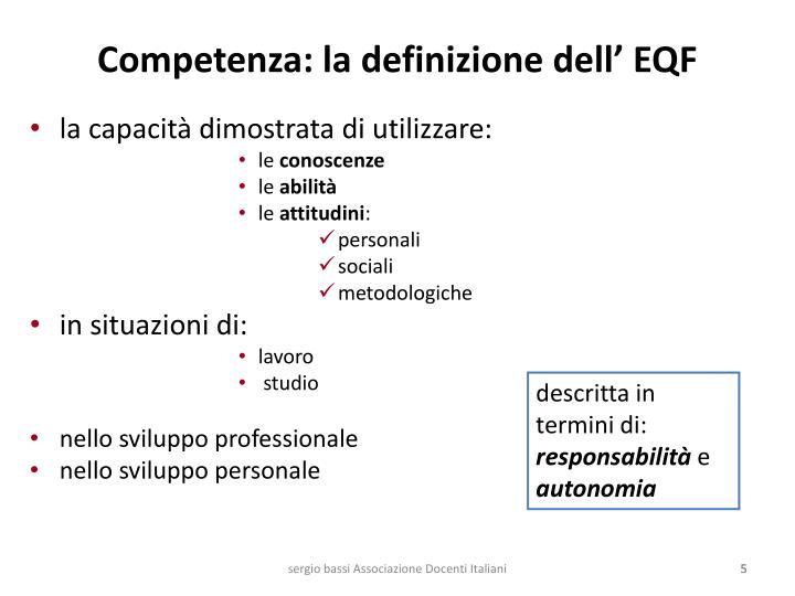 Competenza: la definizione dell' EQF