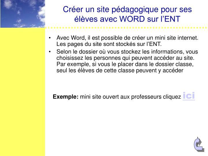 Créer un site pédagogique pour ses élèves avec WORD sur l'ENT
