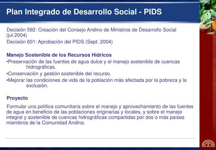 Plan Integrado de Desarrollo Social - PIDS