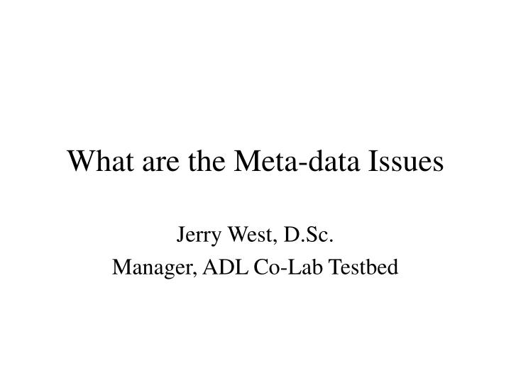 what are the meta data issues n.