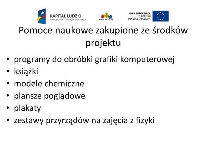 Pomoce naukowe zakupione ze środków projektu