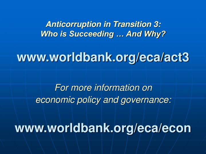 Anticorruption in Transition 3: