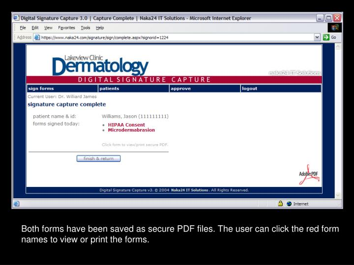 Both forms have been saved as secure PDF files. The user can click the red form