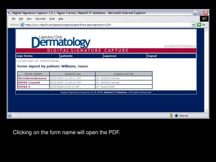 Clicking on the form name will open the PDF.