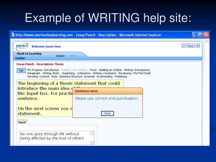 Example of WRITING help site: