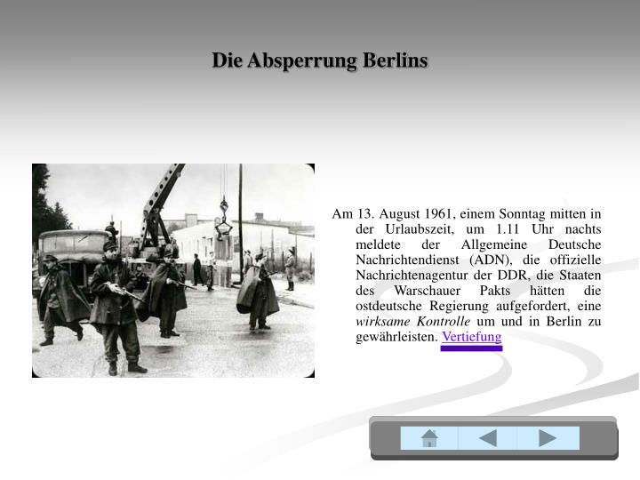 Die Absperrung Berlins