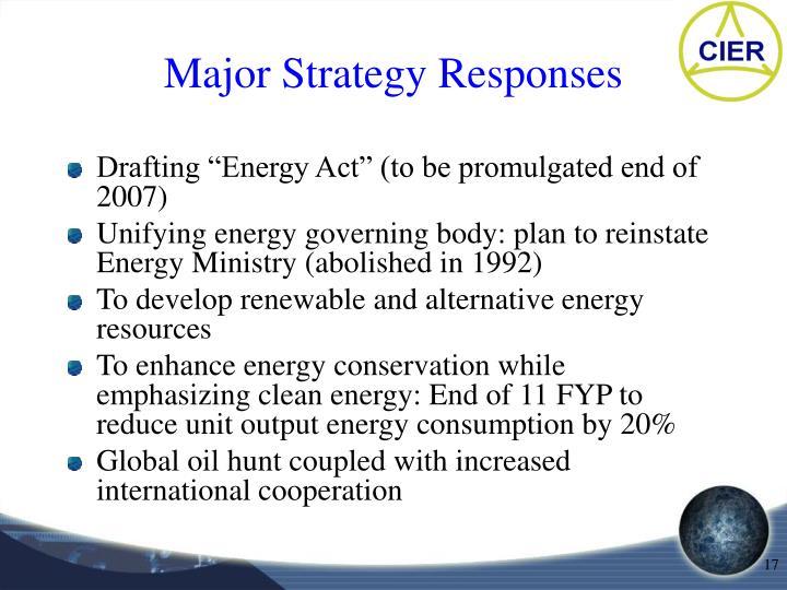 Major Strategy Responses