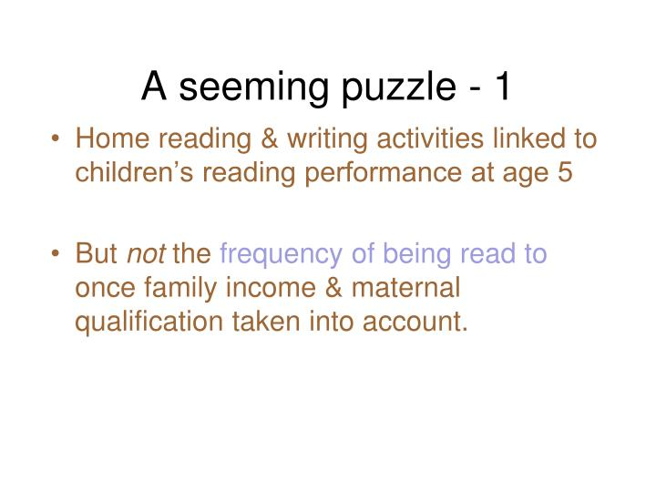 A seeming puzzle - 1