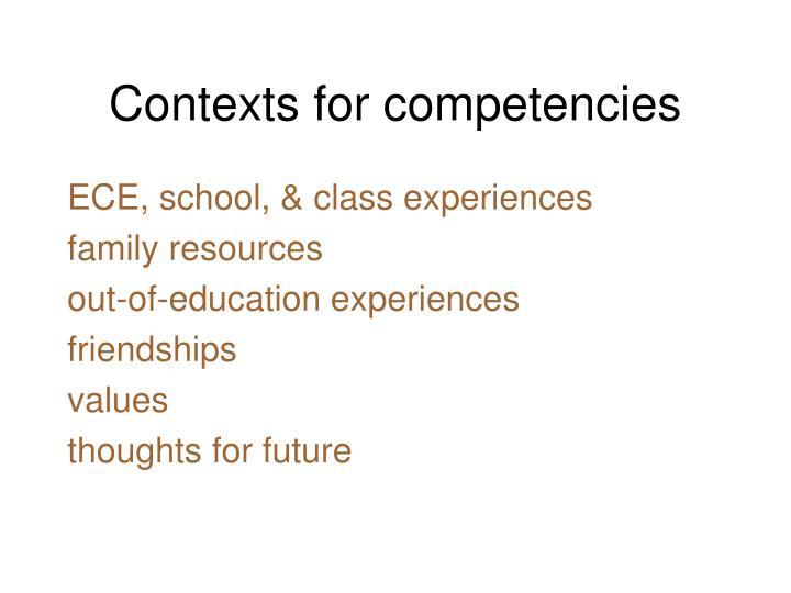 Contexts for competencies