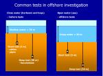 common tests in offshore investigation