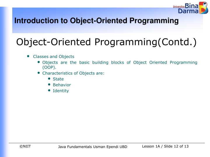 Object-Oriented Programming(Contd.)