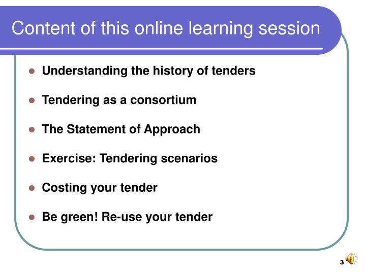Content of this online learning session