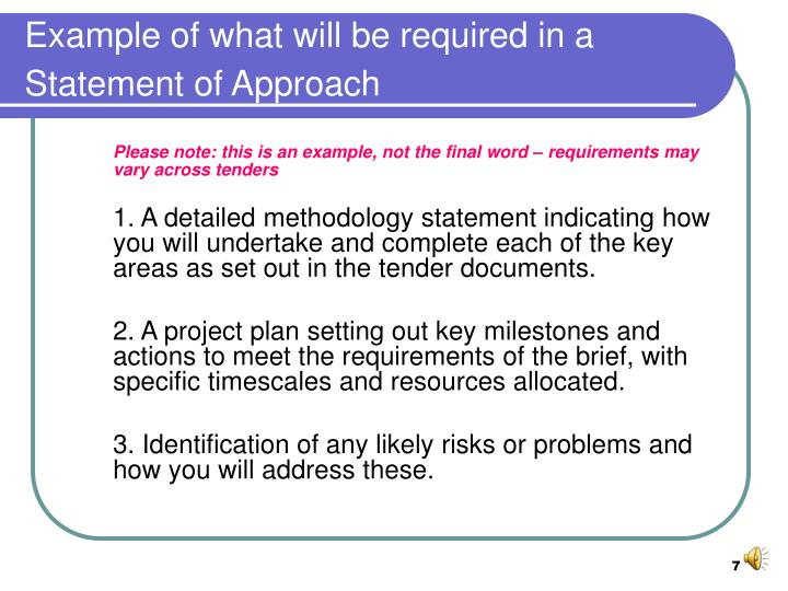 Example of what will be required in a Statement of Approach