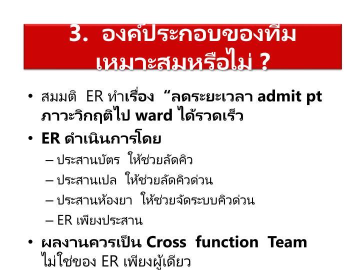 3.  องค์ประกอบของทีมเหมาะสมหรือไม่ ?