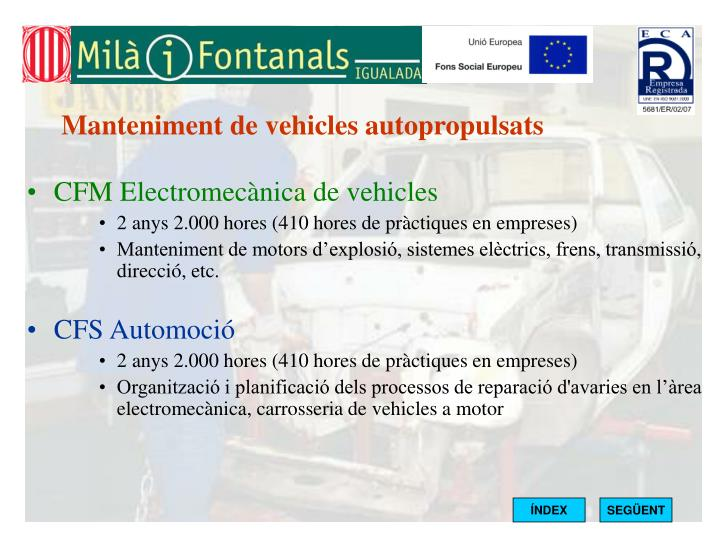 Manteniment de vehicles autopropulsats
