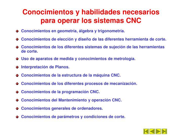 Conocimientos y habilidades necesarios para operar los sistemas CNC