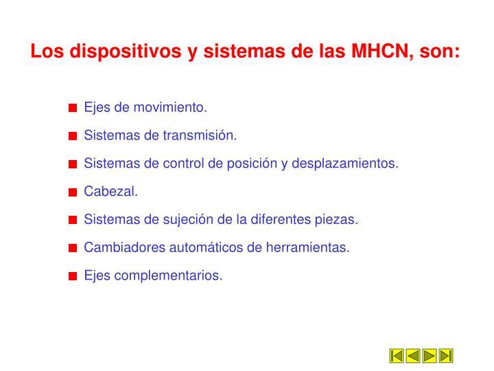 Los dispositivos y sistemas de las MHCN, son: