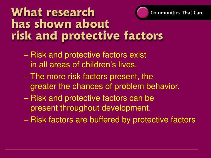 Risk and protective factors exist