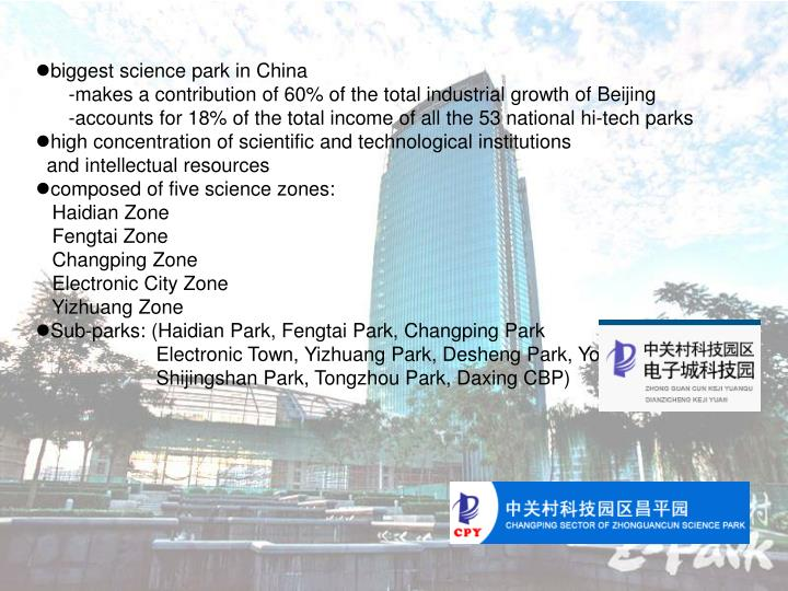Biggest science park in China