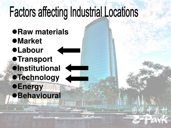Factors affecting Industrial Locations