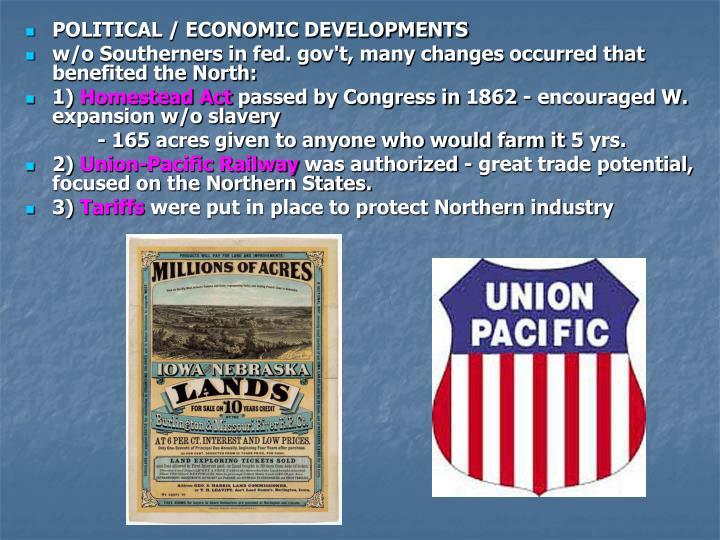 POLITICAL / ECONOMIC DEVELOPMENTS
