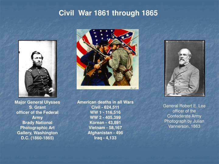 Civil War 1861 through 1865