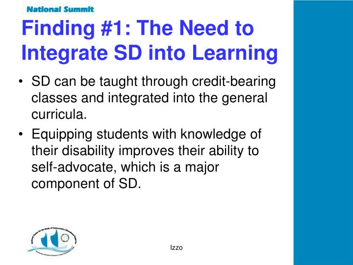Finding #1: The Need to Integrate SD into Learning
