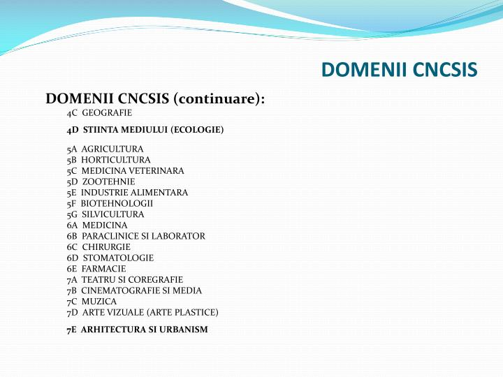 DOMENII CNCSIS