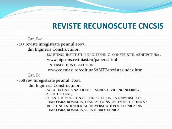 REVISTE RECUNOSCUTE CNCSIS