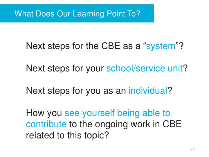 What Does Our Learning Point To?
