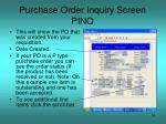 purchase order inquiry screen pinq