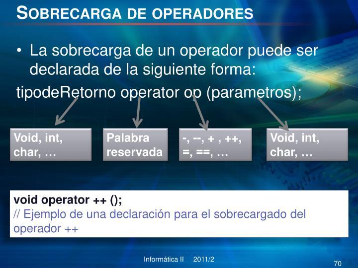 Sobrecarga de operadores