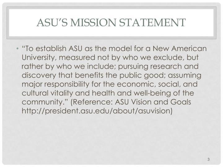 Asu s mission statement