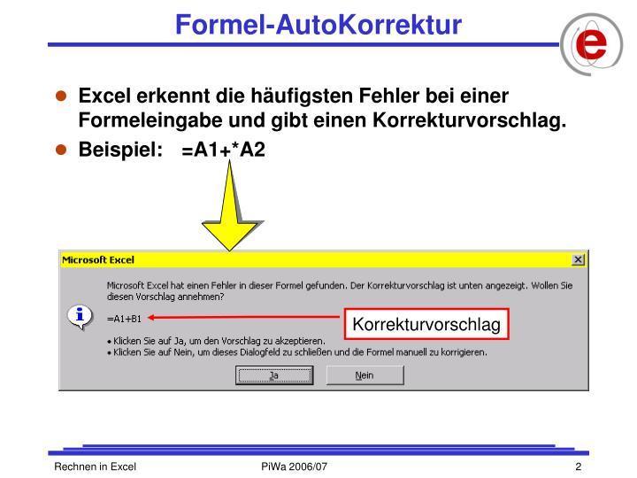 Formel autokorrektur