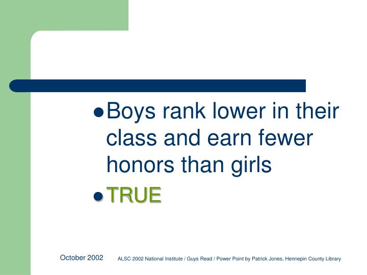 Boys rank lower in their class and earn fewer honors than girls